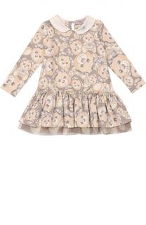 Платье джерси с принтом и круглым воротником Monnalisa