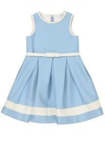 Приталенное платье без рукавов с контрастной отделкой Monnalisa