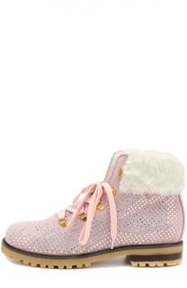 Замшевые ботинки со стразами Monnalisa