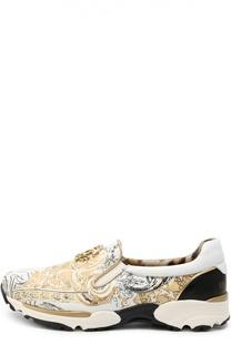 Кожаные кроссовки с принтом Roberto Cavalli