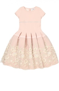 Платье с пышной юбкой и цветочной отделкой Monnalisa