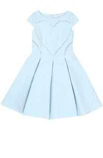 Приталенное платье с фактурной отделкой Monnalisa