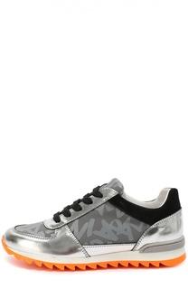 Комбинированные кроссовки на яркой подошве Giorgio Armani