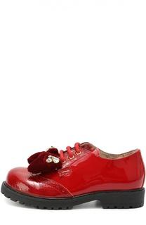 Лаковые туфли с декорированным бантом Monnalisa