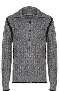 Шерстяной свитер фактурной вязки с отложным воротником Dolce & Gabbana