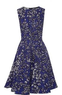 Приталенное платье без рукавов с ярким принтом Oscar de la Renta