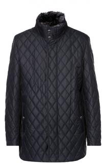 Утепленная стеганая куртка с меховой отделкой воротника Paul&Shark Paul&Shark
