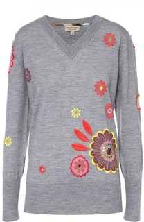 Пуловер с контрастной цветочной вышивкой и V-образным вырезом Burberry Brit