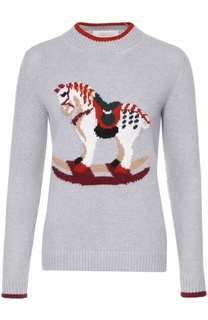Пуловер прямого кроя с контрастными принтом и отделкой Tak.Ori