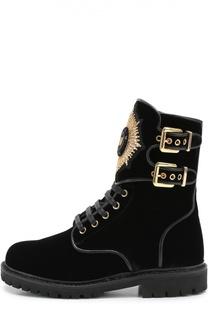Текстильные ботинки с нашивкой и пряжками Balmain