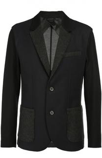Шерстяной пиджак с контрастными элементами Lanvin