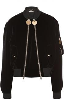 Бархатный укороченный бомбер на косых молниях Givenchy