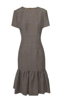 Приталенное платье в клетку с оборкой Escada