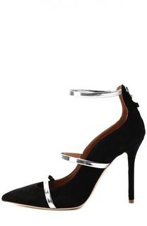 Замшевые туфли с ремешками из металлизированной кожи Malone Souliers