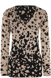 Пуловер с V-образным вырезом и контрастным принтом Escada