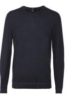 Джемпер с круглым вырезом из смеси шерсти и шелка BOSS