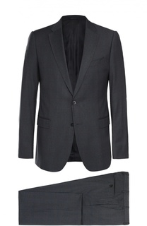 Шерстяной приталенный костюм в клетку Armani Collezioni