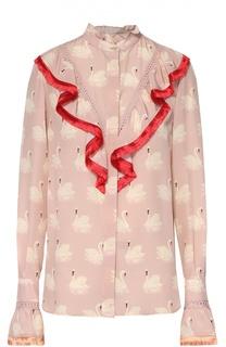 Шелковая блуза с контрастной бахромой и принтом в виде лебедей Stella McCartney