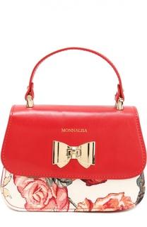 Кожаная сумка с отделкой из неопрена Monnalisa