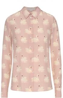 Шелковая блуза прямого кроя с принтом в виде лебедей Stella McCartney
