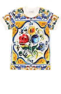Футболка джерси с принтом Majolica Dolce & Gabbana