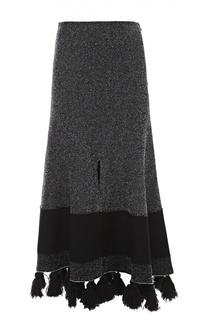 Вязаная юбка с разрезом и декоративной отделкой Proenza Schouler
