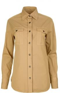 Прямая блуза с накладными карманами и заклепками Tom Ford