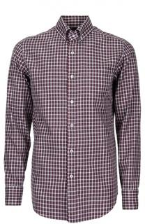 Рубашка в клетку с воротником button down Tom Ford