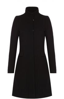 Шерстяное пальто на заклепках с высоким воротником Blugirl