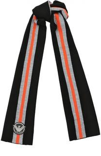 Шарф с контрастными полосками и логотипом бренда Giorgio Armani