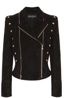 Замшевая приталенная куртка с косой молнией Balmain