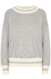 Пуловер со спущенным рукавом и металлизированной отделкой Moncler