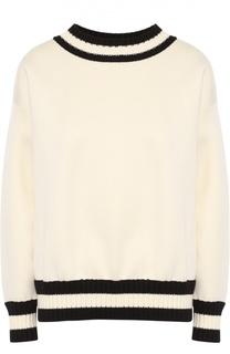Пуловер прямого кроя с контрастной вязаной отделкой Moncler