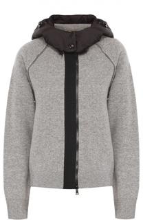 Шерстяная куртка на молнии с пуховой отделкой капюшона Moncler
