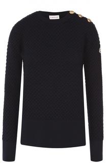 Удлиненный пуловер с разрезами и декоративной отделкой Moncler