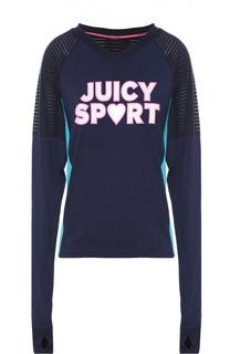 Пуловер свободного кроя с удлиненным рукавом и ярким принтом Juicy Couture