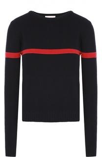 Пуловер фактурной вязки с контрастной отделкой Moncler