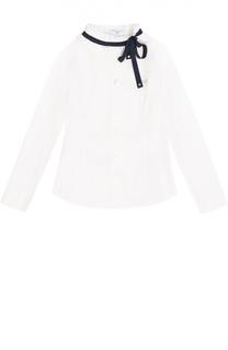 Блуза прямого кроя с контрастной отделкой Monnalisa
