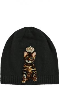 Шапка из смеси шерсти и кашемира с аппликацией Dolce & Gabbana