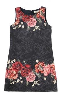 Платье прямого кроя с цветочным принтом Monnalisa