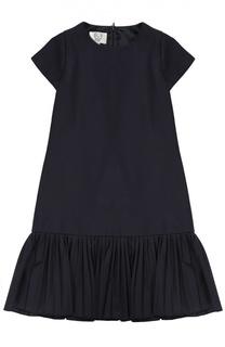 Платье А-силуэта с плиссированной оборкой Caf