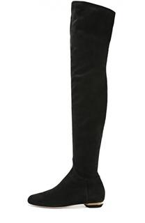 Замшевые ботфорты на декорированном каблуке Nicholas Kirkwood