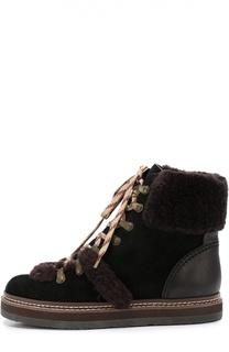 Замшевые ботинки с меховой отделкой See by Chloé