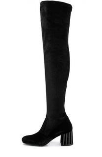 Замшевые ботфорты на массивном каблуке с декором Le Silla