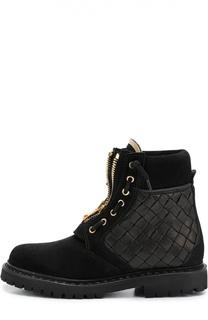 Замшевые ботинки с вставками из плетеной кожи Balmain