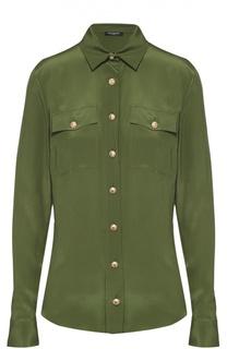 Шелковая блуза прямого кроя с накладными карманами Balmain