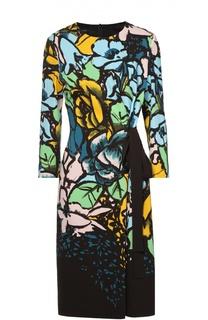 Приталенное платье с цветочным принтом и контрастным бантом Escada
