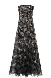 Приталенное платье-бюстье с декоративной вышивкой Oscar de la Renta