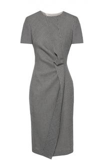 Приталенное платье с принтом гусиная лапка и драпировкой Escada