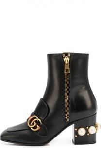 Кожаные ботильоны Peyton на каблуке с жемчужинами Gucci